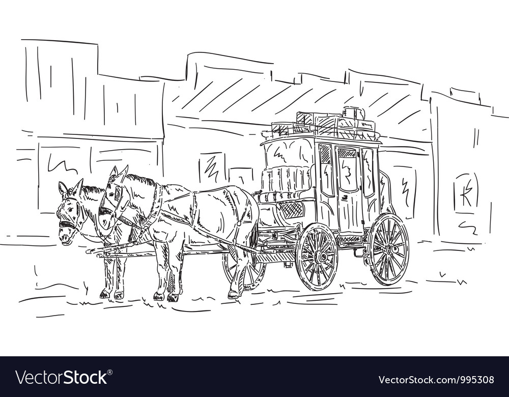 Horse western carriage vector