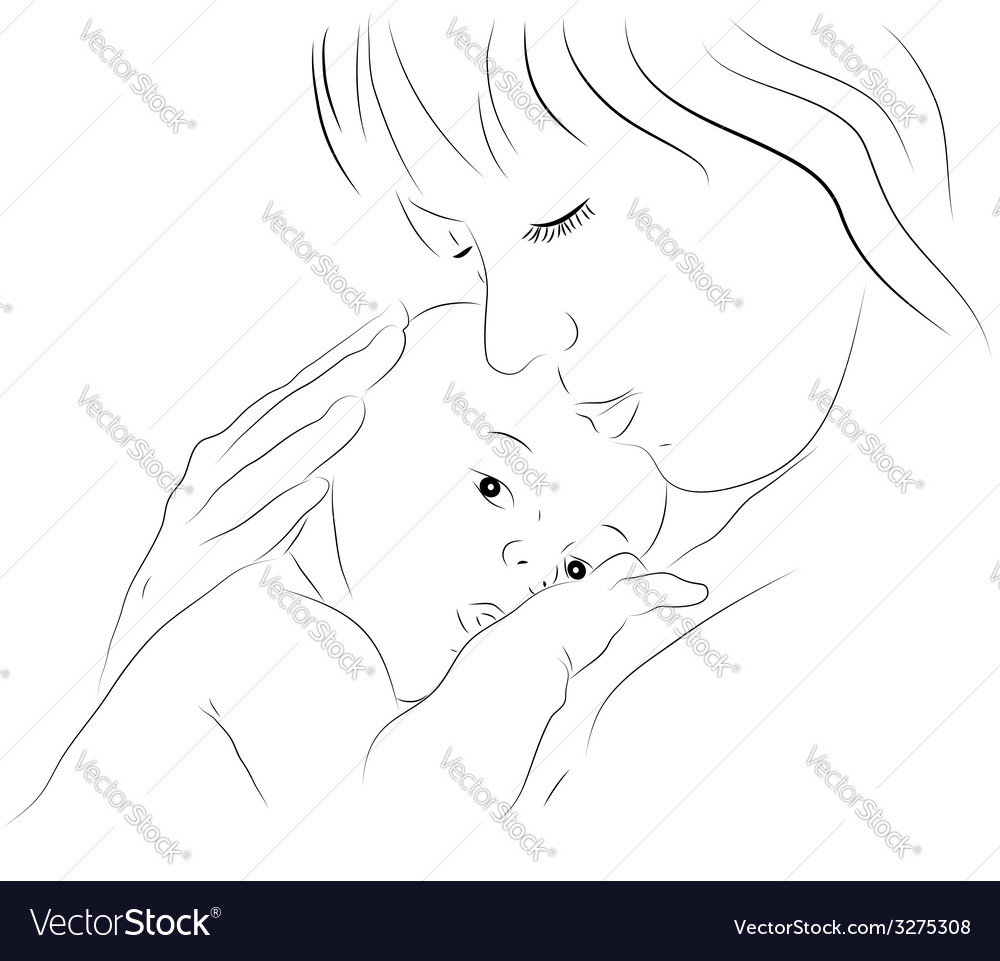 Mother and newborn vector | Price: 1 Credit (USD $1)