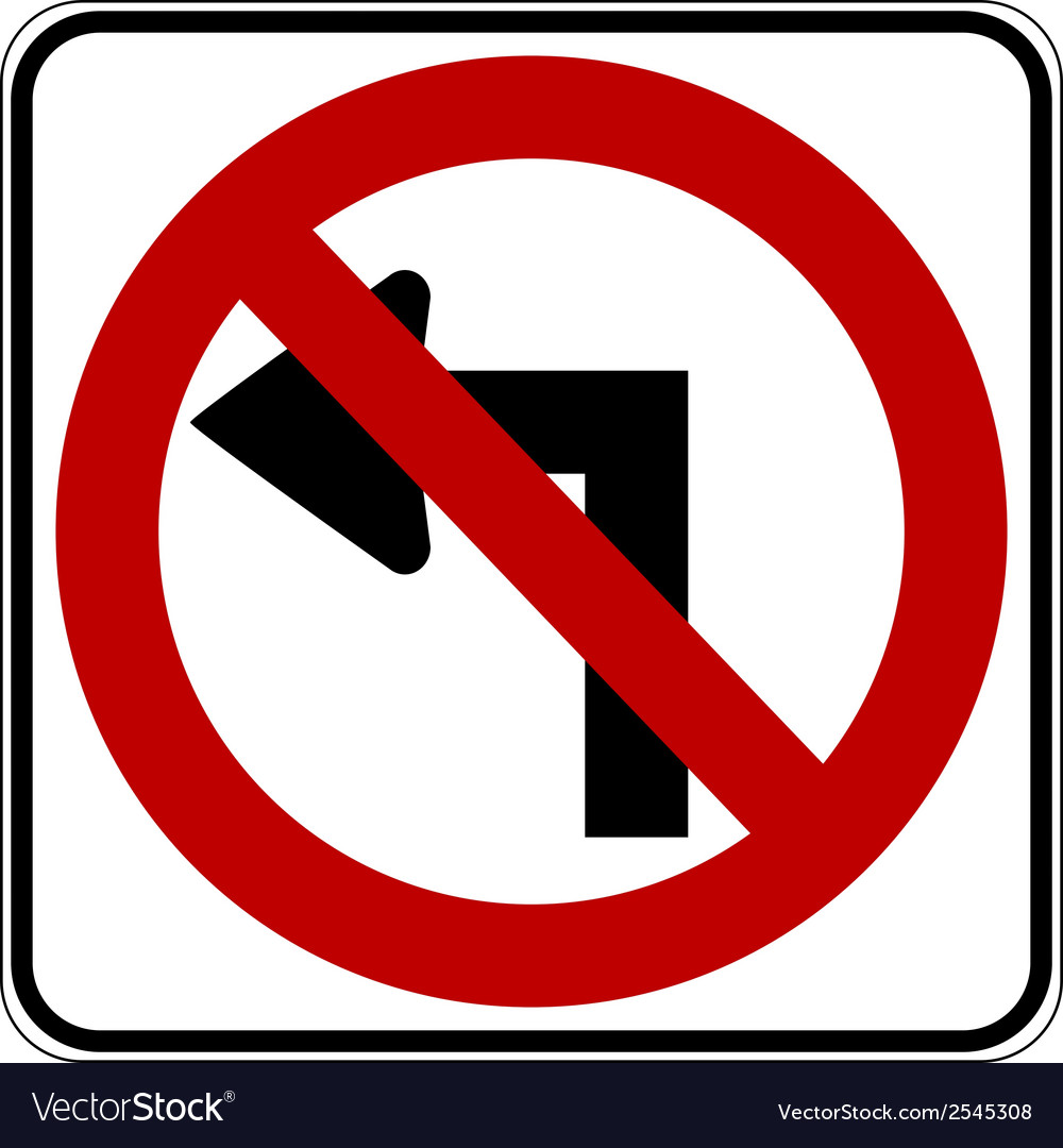 No left turn vector | Price: 1 Credit (USD $1)