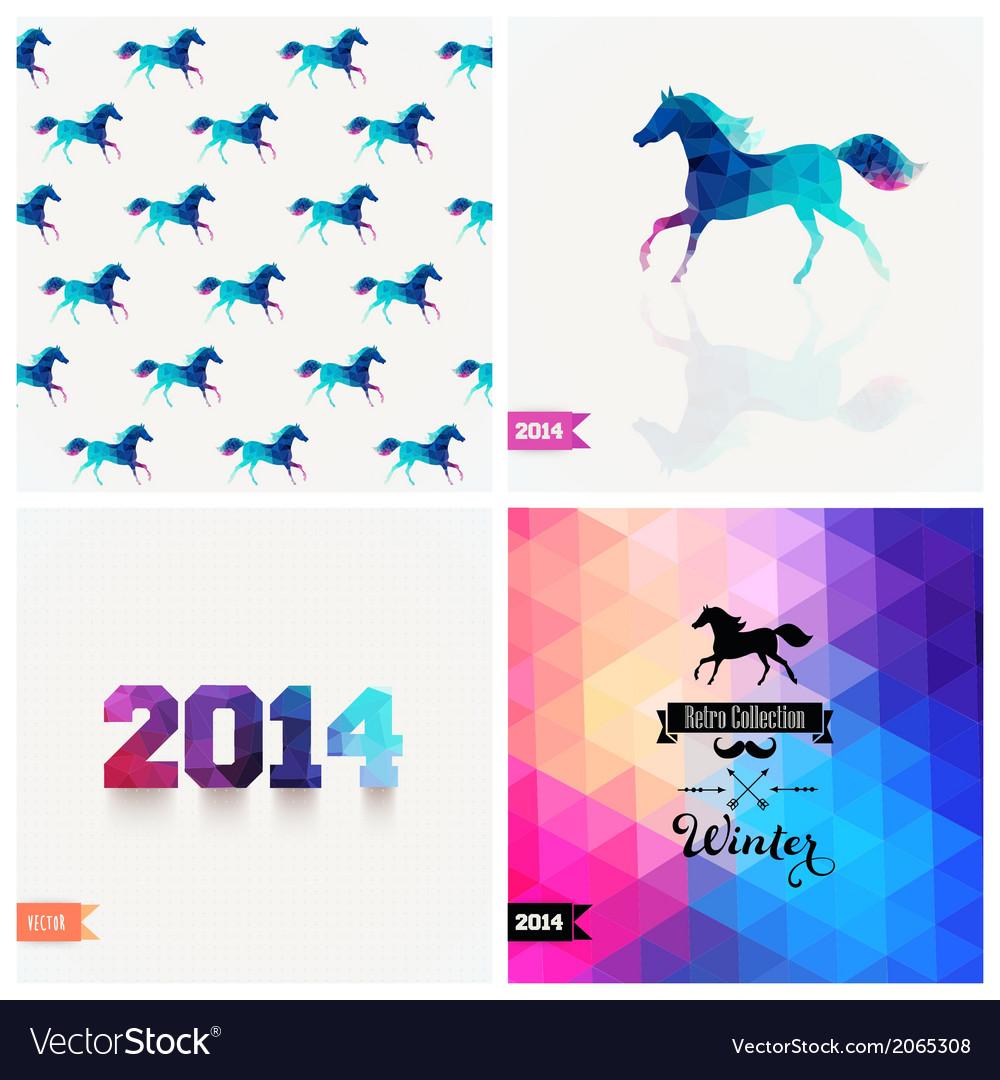 Set of four new year symbols blue horse retro vector | Price: 1 Credit (USD $1)