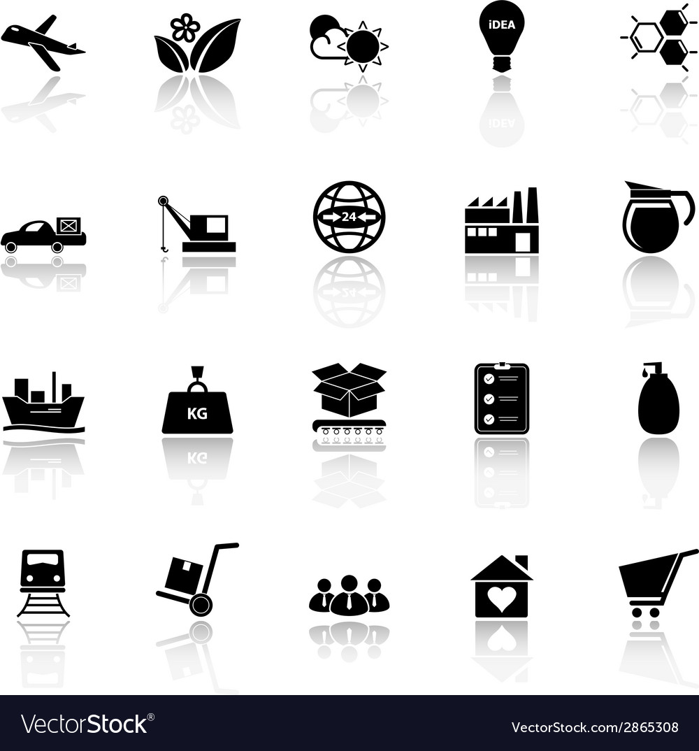 Supply chain and logistic icons with reflect on vector | Price: 1 Credit (USD $1)