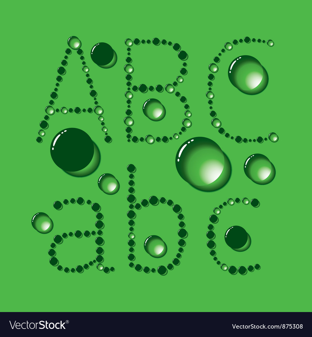 Water drop letters on green new 01 vector | Price: 1 Credit (USD $1)