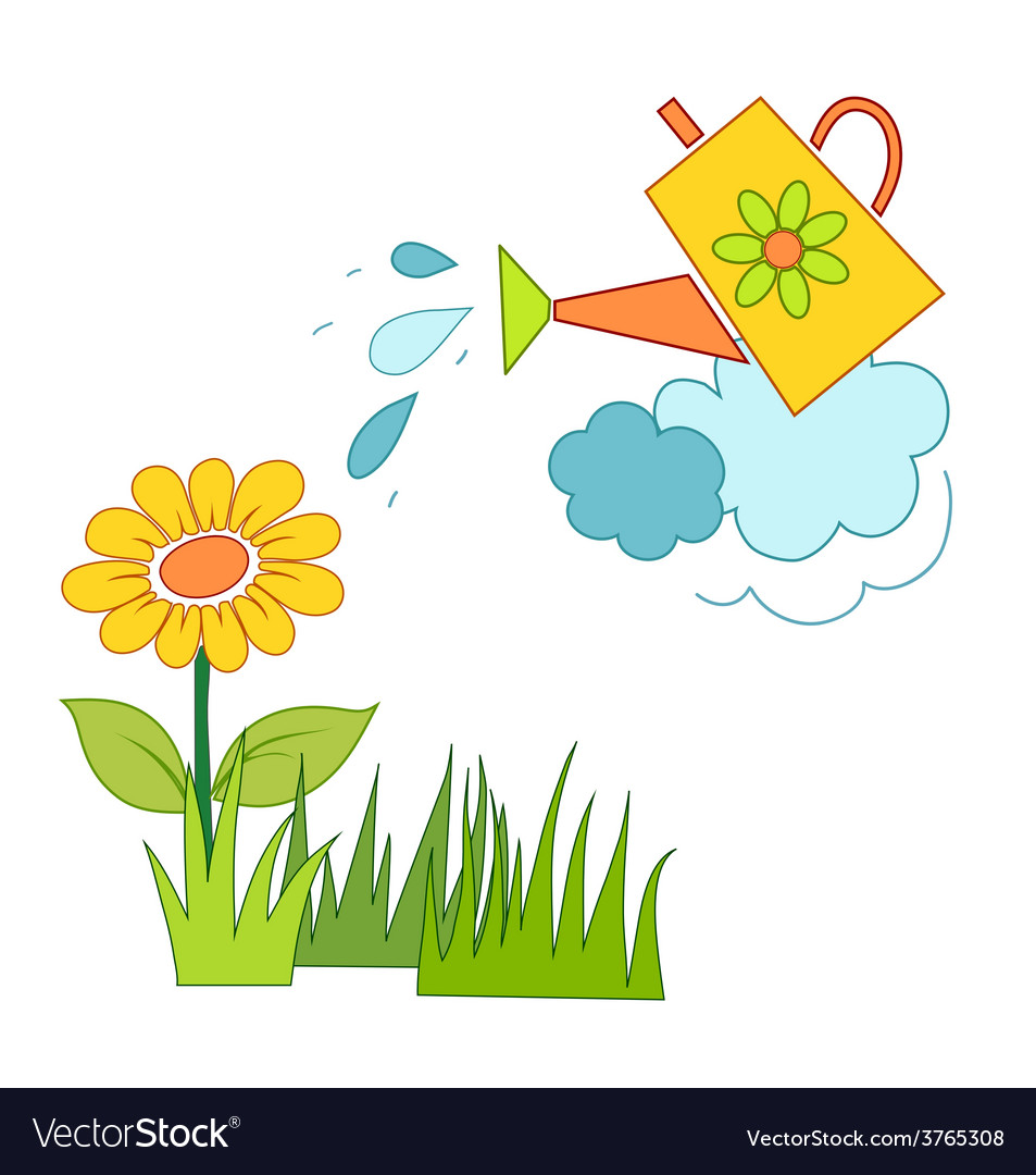 Watering a flower vector | Price: 1 Credit (USD $1)