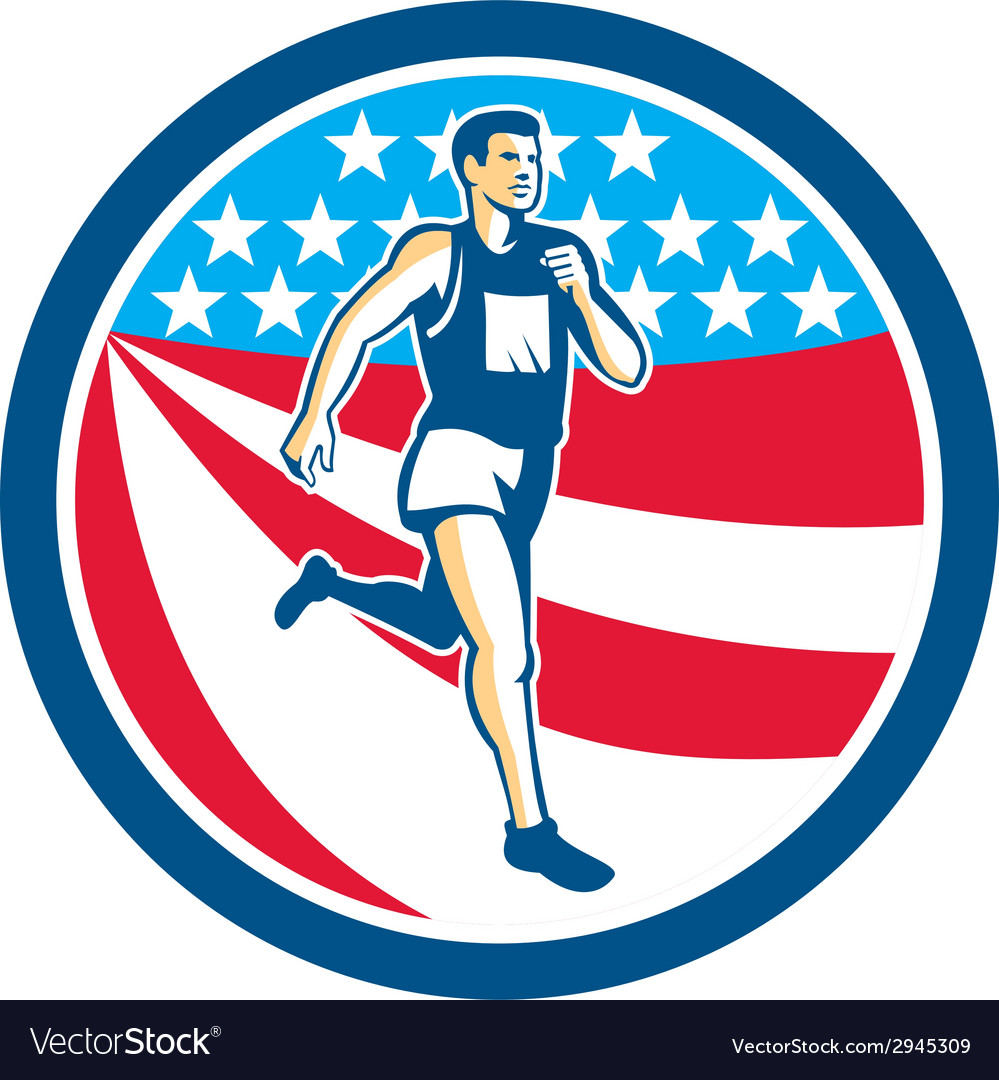 American marathon runner running circle retro vector | Price: 1 Credit (USD $1)
