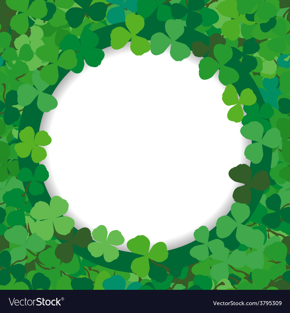 Background with a round frame of clovers vector