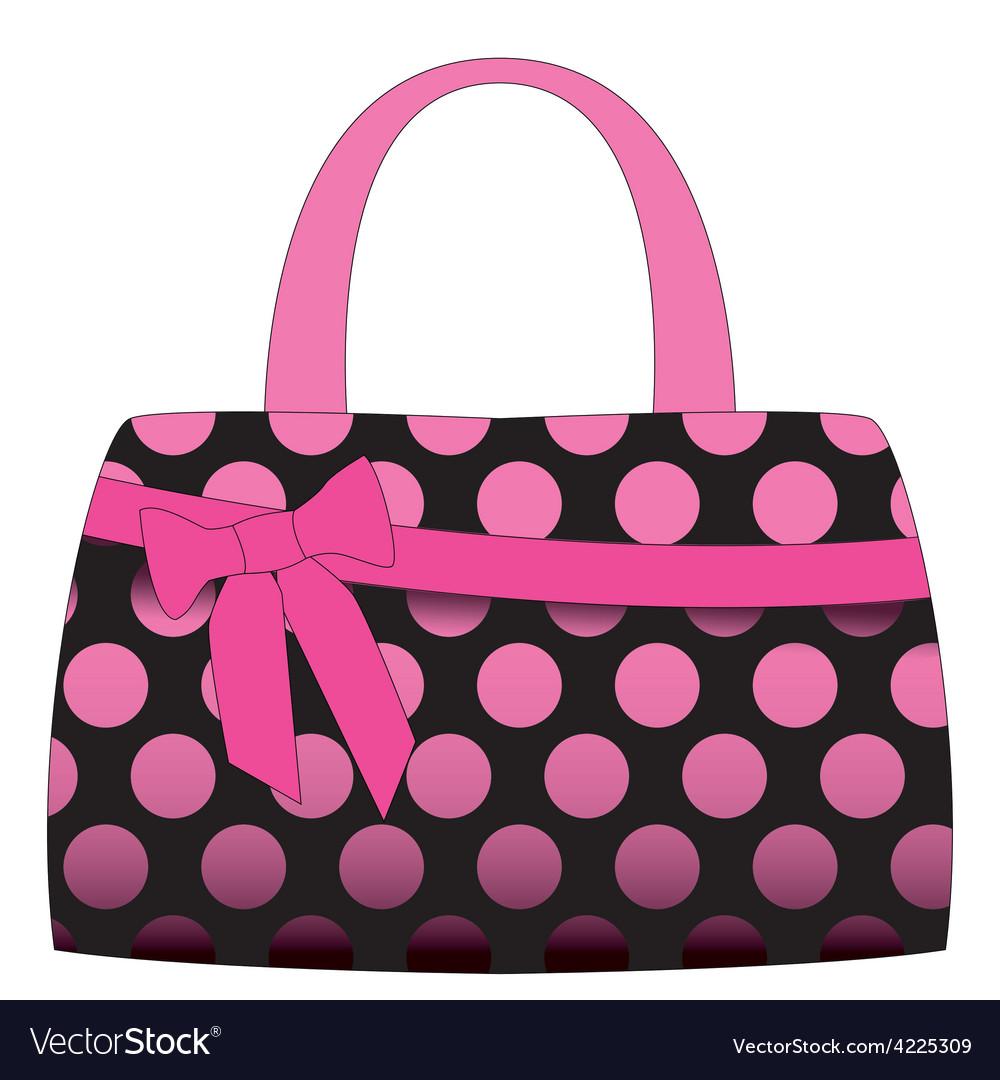 Black handbag in pink polka dots vector | Price: 1 Credit (USD $1)