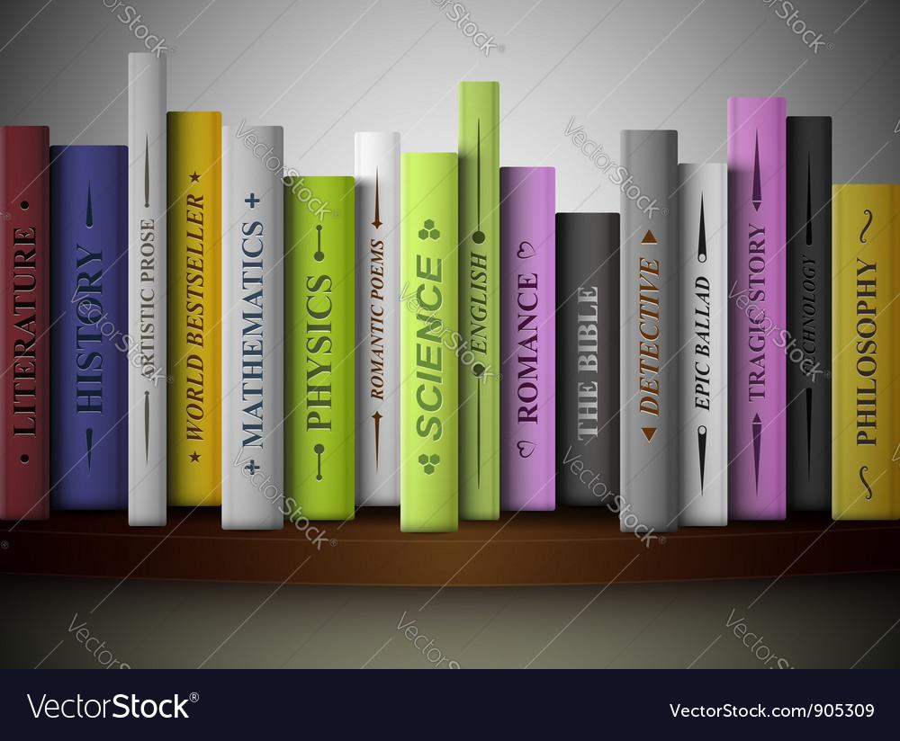 Books on shelf vector | Price: 1 Credit (USD $1)