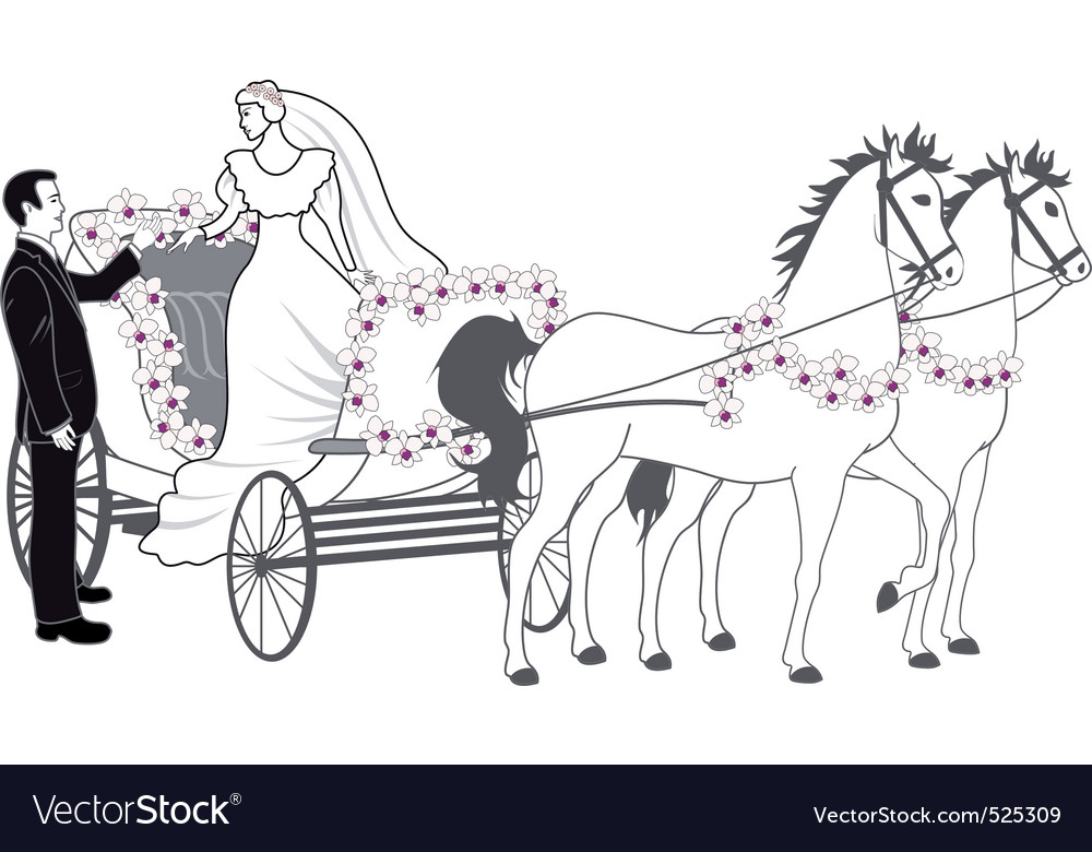Chariot with newlyweds vector | Price: 1 Credit (USD $1)