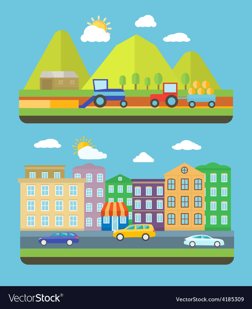City and farm vellage vector | Price: 1 Credit (USD $1)