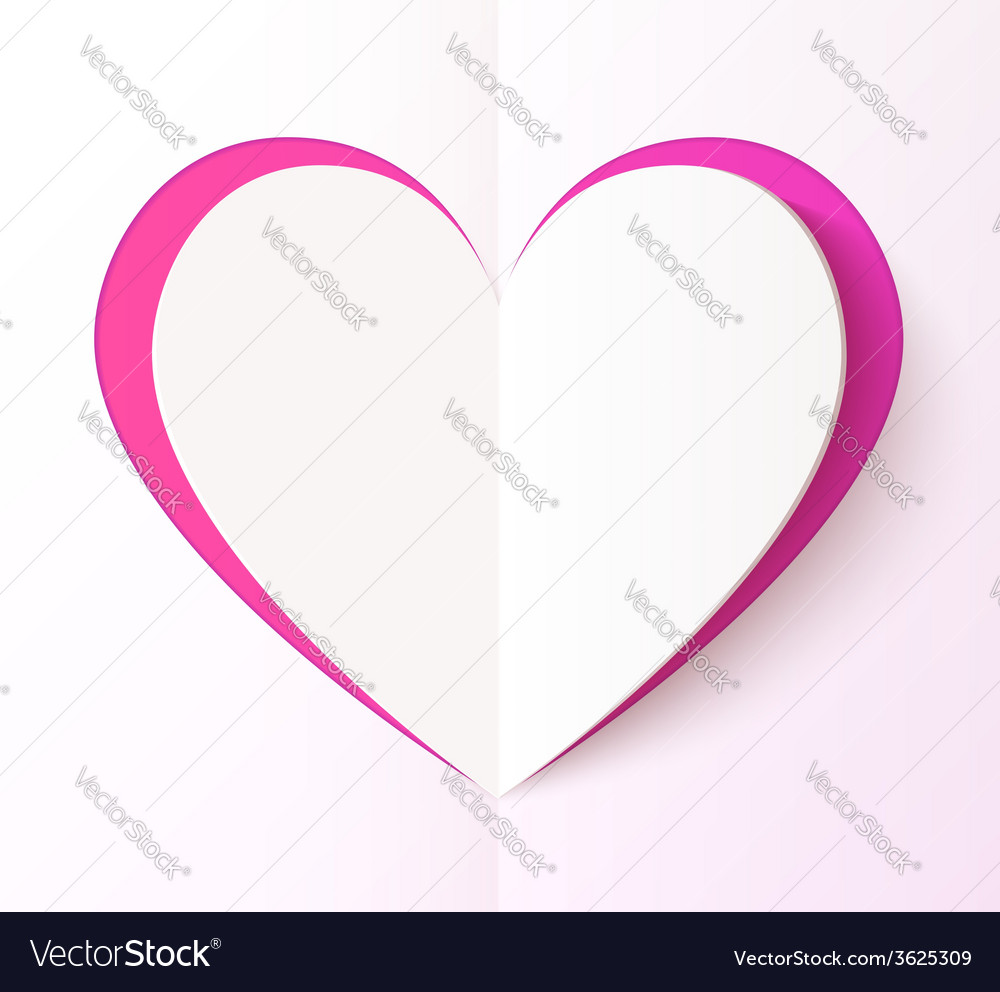 Empty folded paper style pink heart vector | Price: 1 Credit (USD $1)
