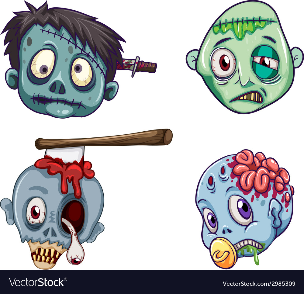 Heads of the zombies vector | Price: 1 Credit (USD $1)