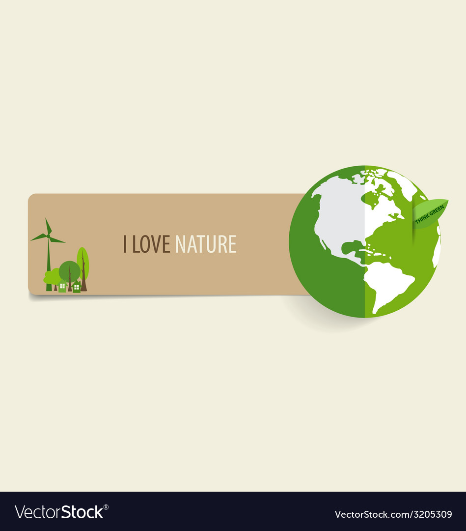 Nature banner paper with green eco earth vector | Price: 1 Credit (USD $1)