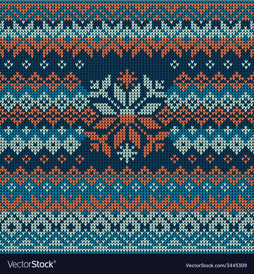 Scandinavian style seamless knitted pattern vector | Price: 1 Credit (USD $1)