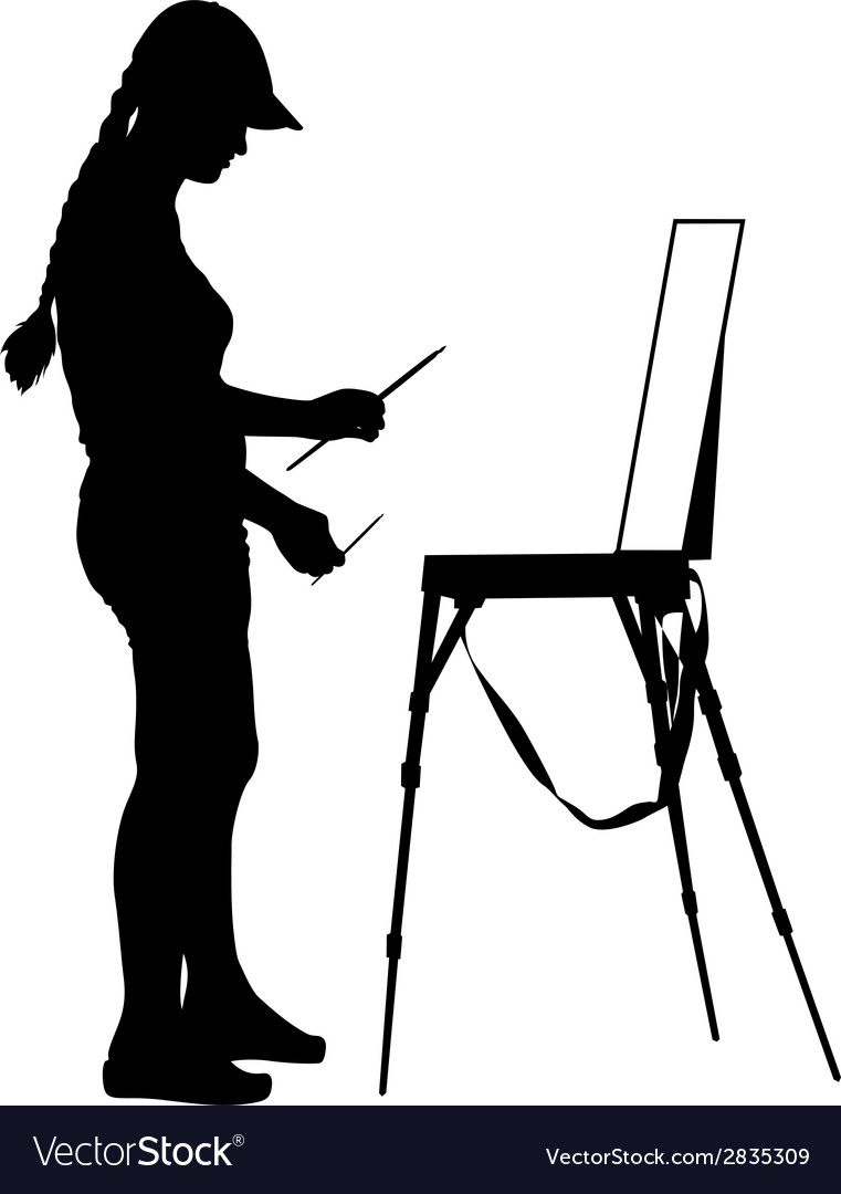 Silhouette artist at work on a white background vector   Price: 1 Credit (USD $1)