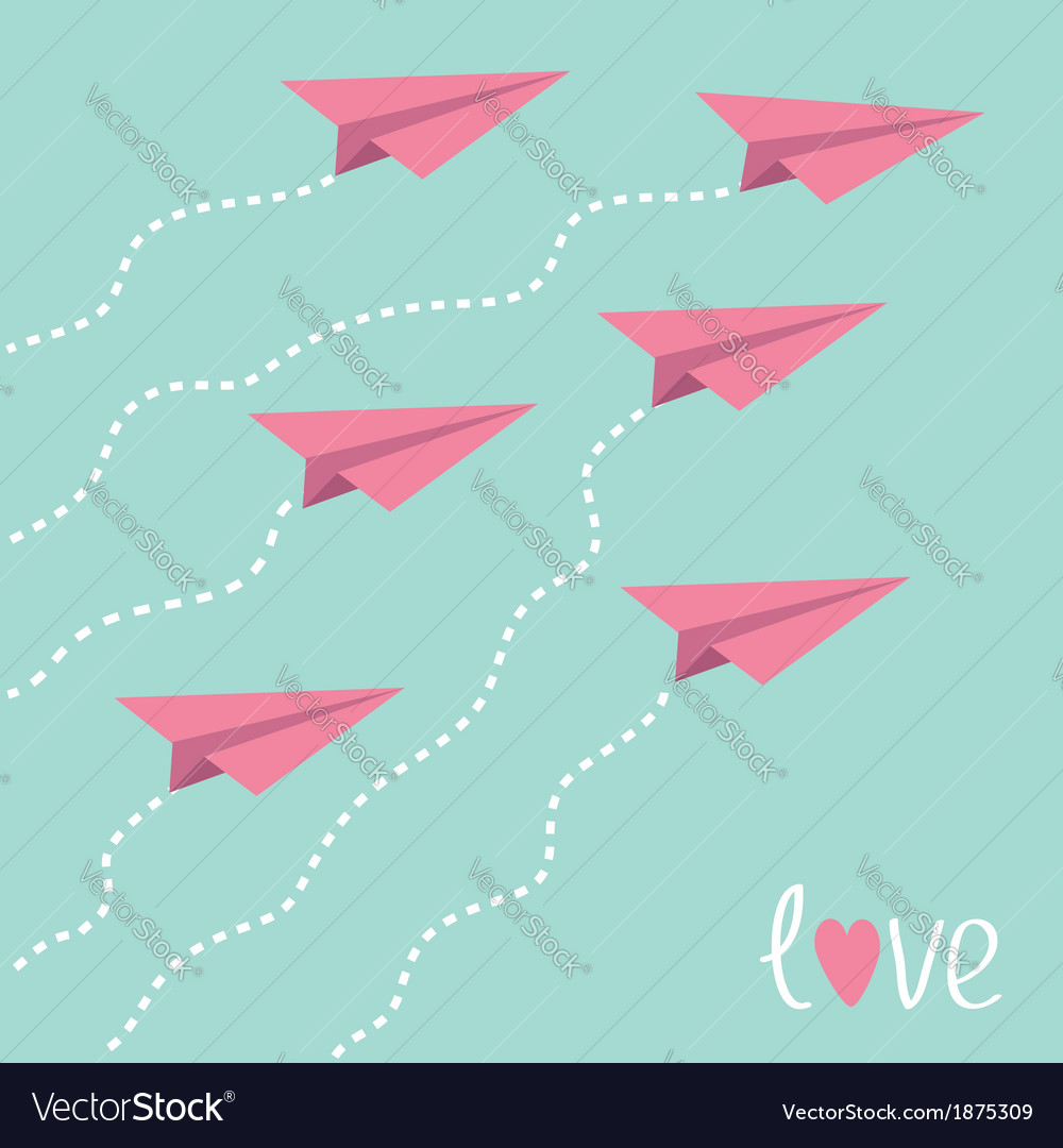 Six flying paper planes in the sky love card vector | Price: 1 Credit (USD $1)