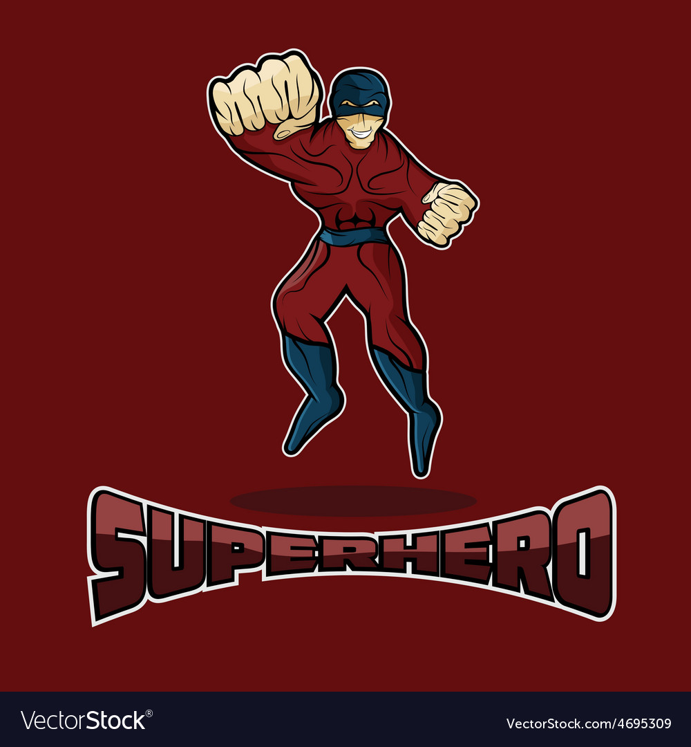 Superhero in action design template vector | Price: 1 Credit (USD $1)