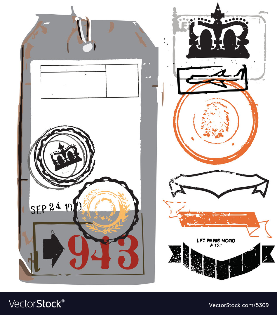 Vintage luggage tag vector | Price: 1 Credit (USD $1)