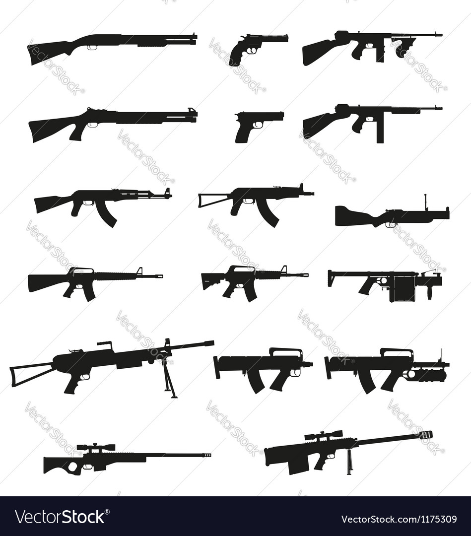 Weapon and gun set collection icons 02 vector | Price: 1 Credit (USD $1)