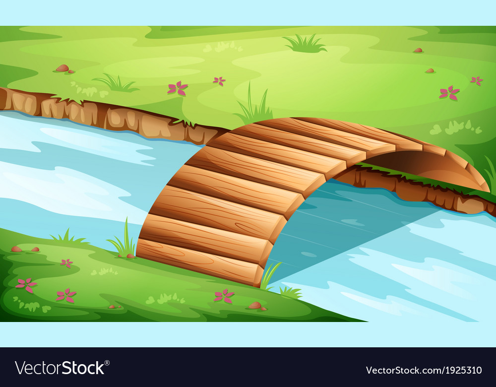 A wooden bridge at the river vector | Price: 1 Credit (USD $1)
