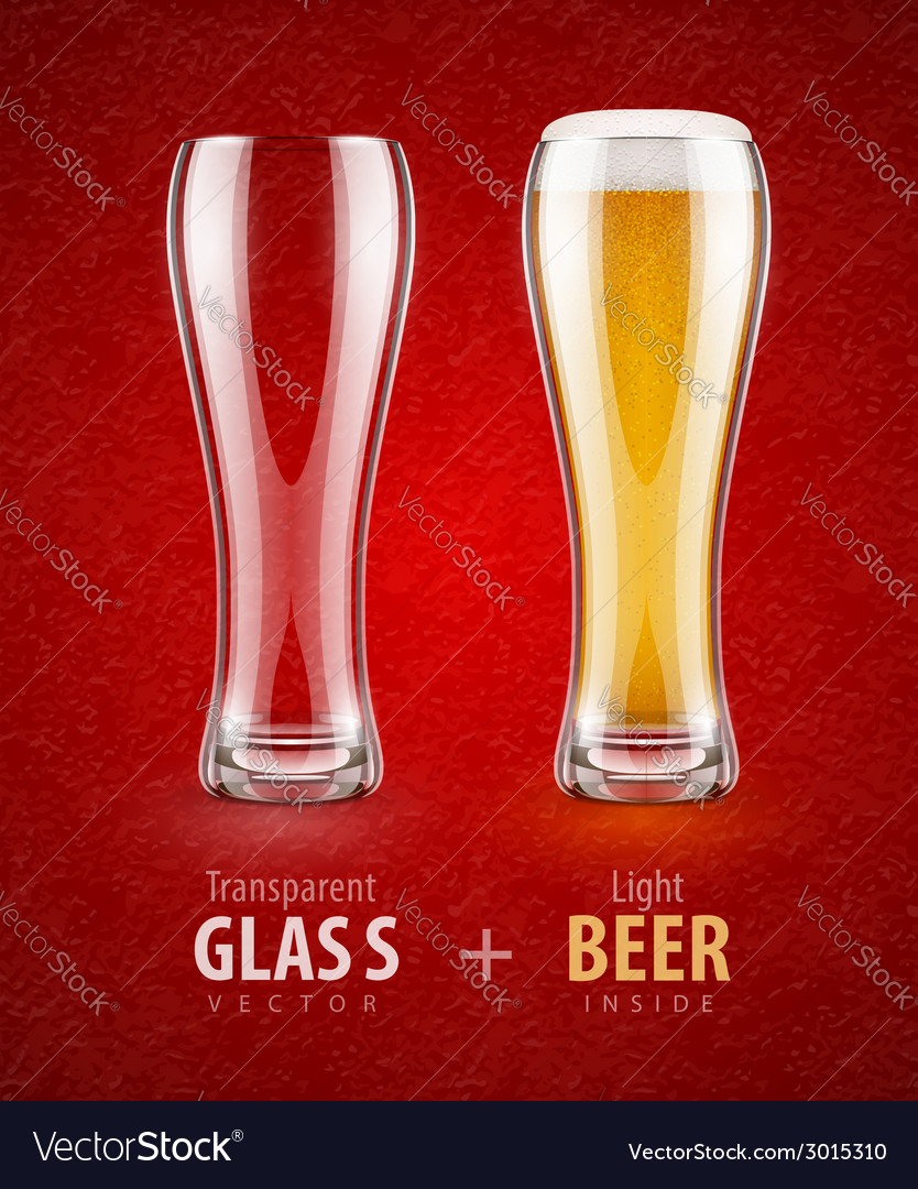 Beer in the glass and empty vector | Price: 1 Credit (USD $1)
