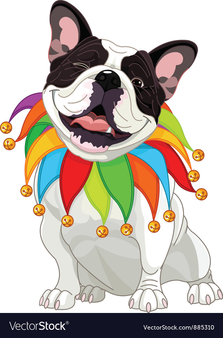 French bulldog wearing a colorful collar vector | Price: 3 Credit (USD $3)