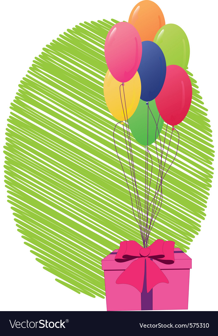 Greeting card with gift box and balloons vector   Price: 1 Credit (USD $1)