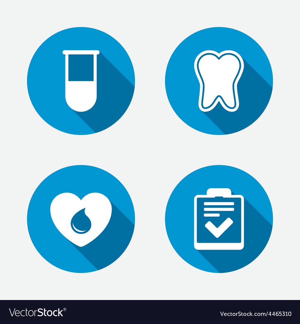 Medical icons tooth test tube blood donation vector | Price: 1 Credit (USD $1)