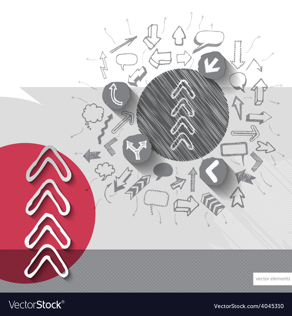 Paper and graphic arrows with icons background vector | Price: 1 Credit (USD $1)