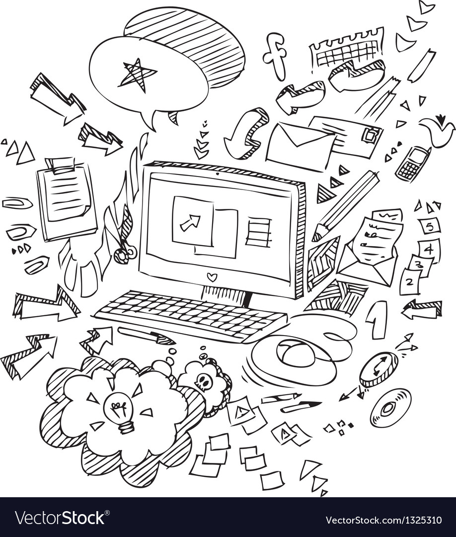 Pc and office objects vector | Price: 1 Credit (USD $1)