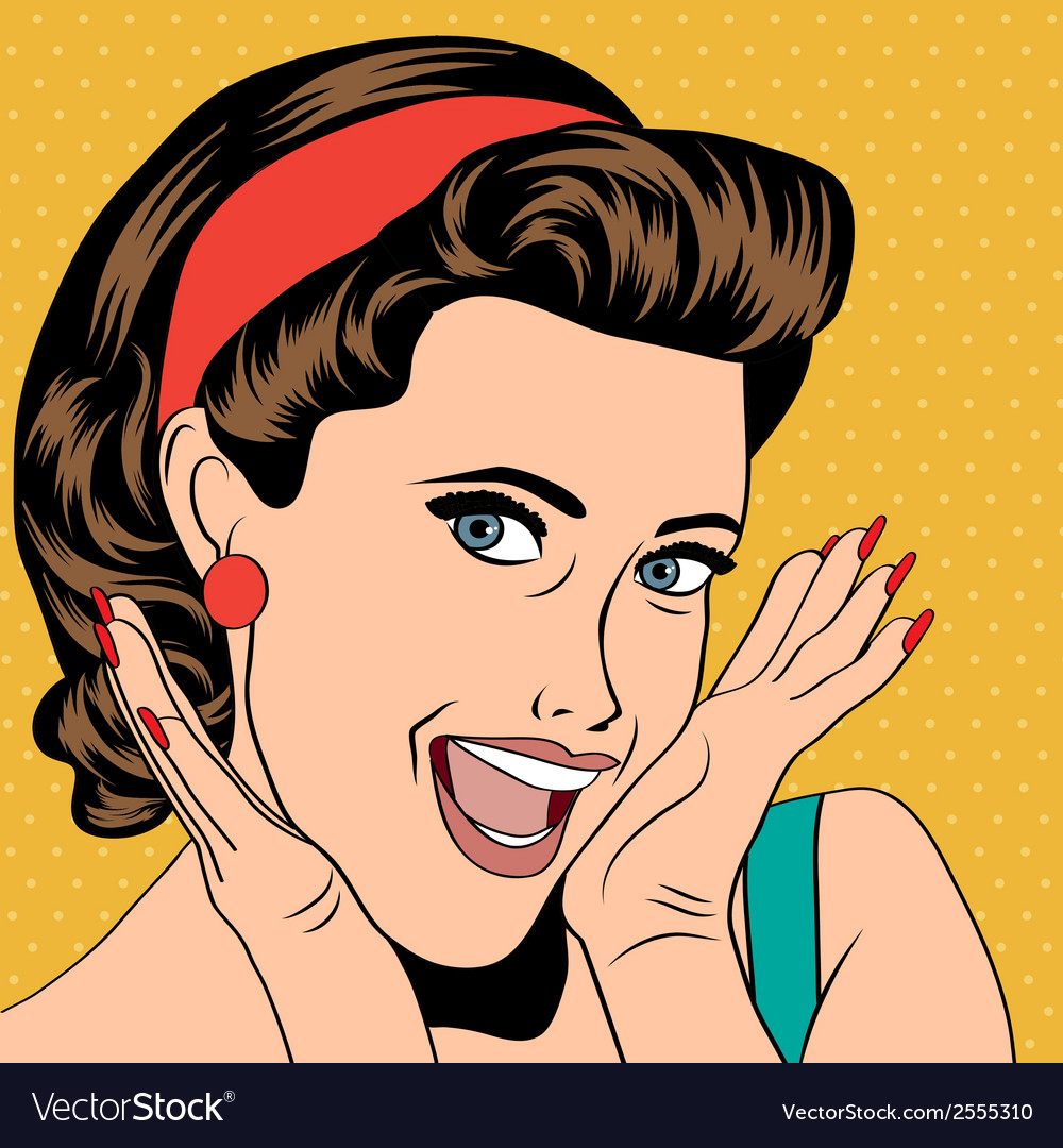 Popart retro woman in comics style vector | Price: 1 Credit (USD $1)