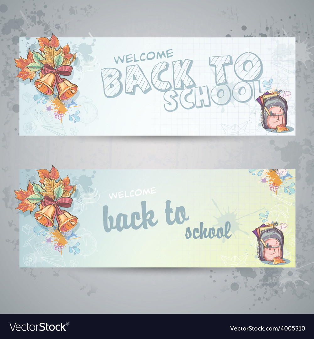 Set with two horizontal banners with a school vector | Price: 1 Credit (USD $1)