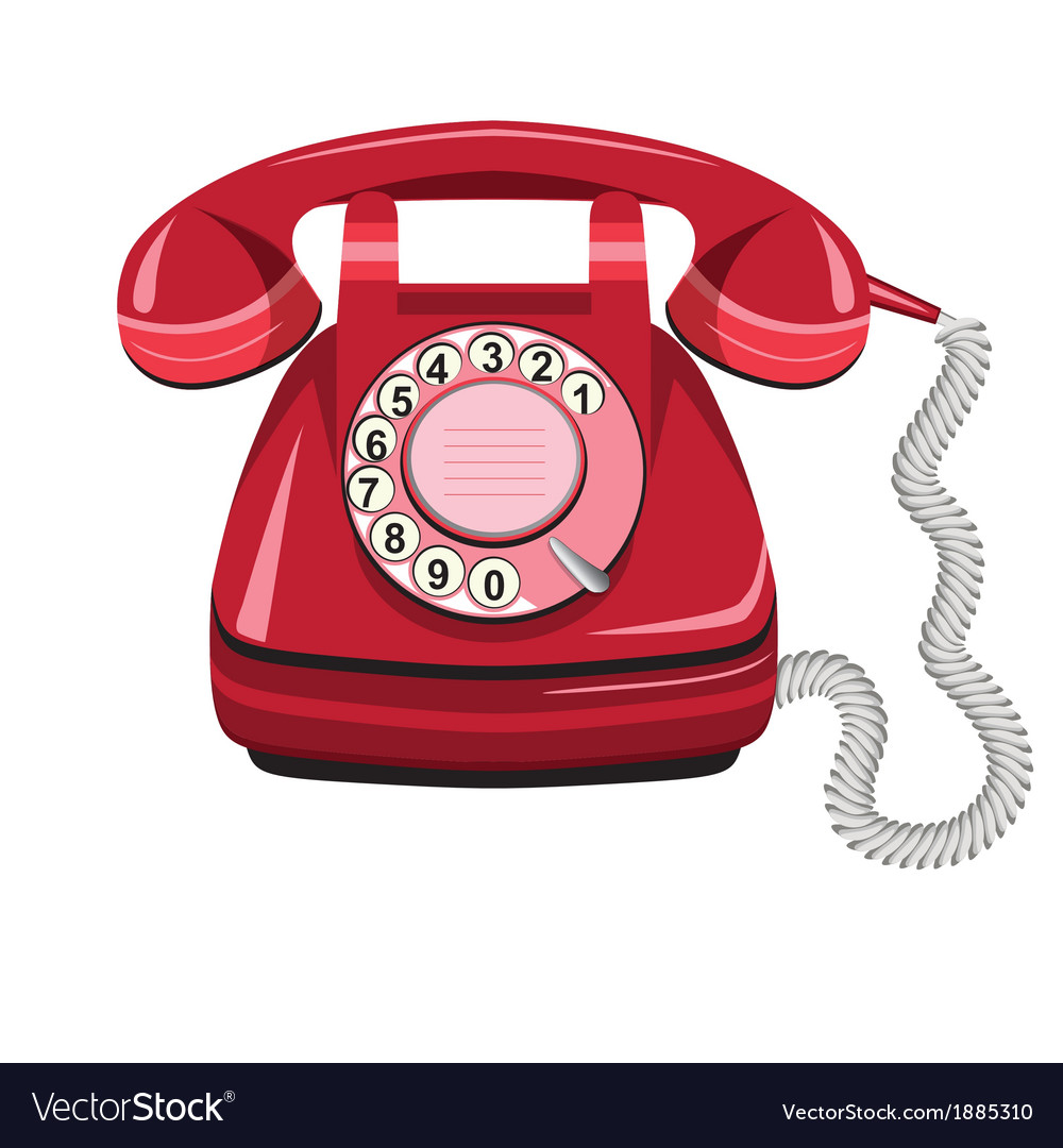 Telephone icon red vector | Price: 1 Credit (USD $1)