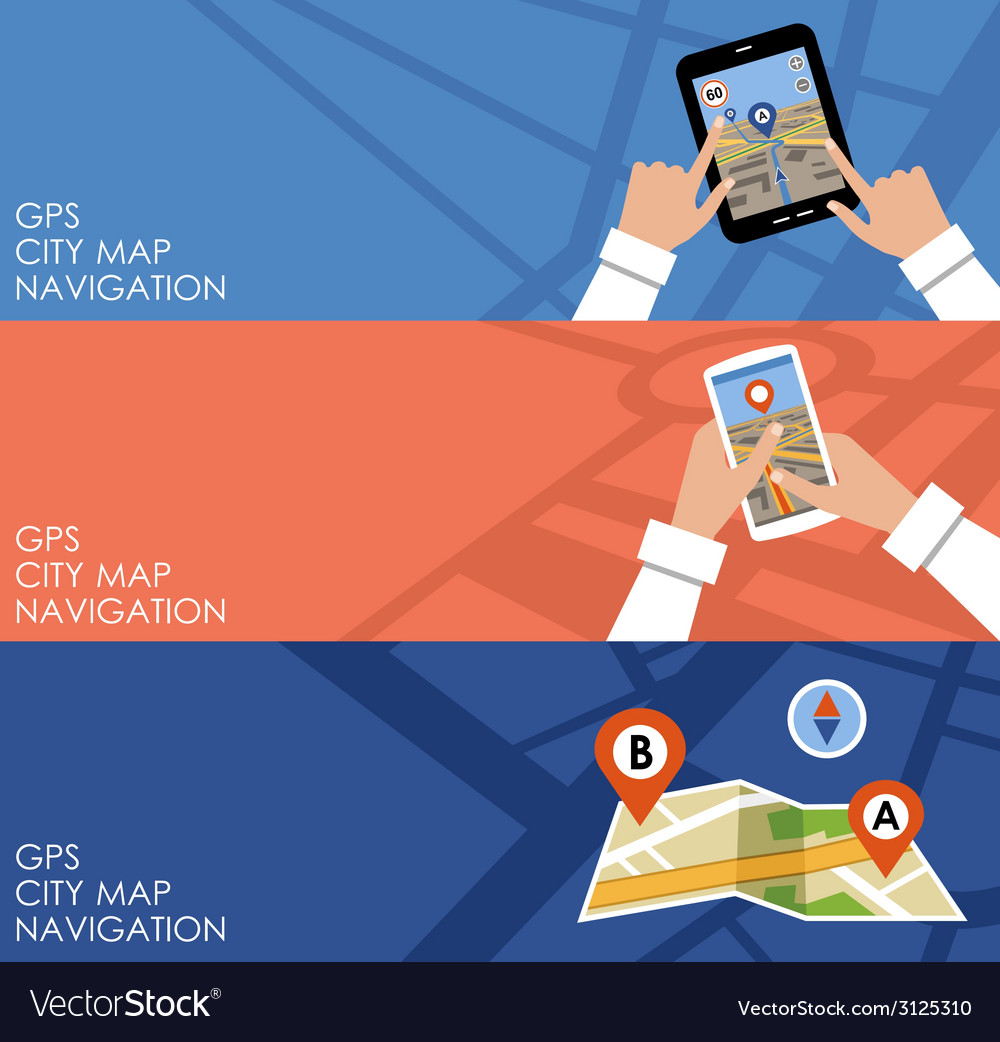 Three banners with gps vector | Price: 1 Credit (USD $1)