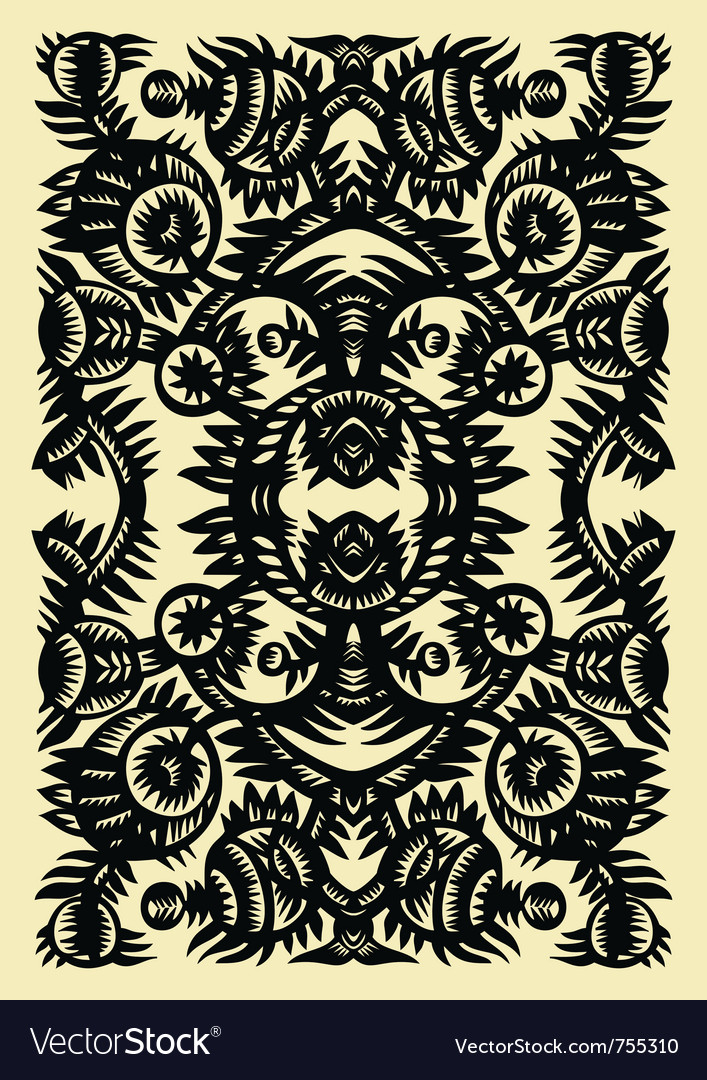 Vertical decorative pattern with flowers on a whit vector | Price: 1 Credit (USD $1)