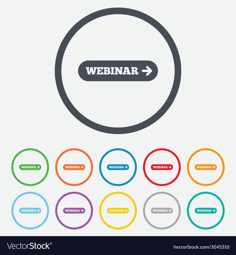 Webinar with arrow sign icon web study symbol vector | Price: 1 Credit (USD $1)