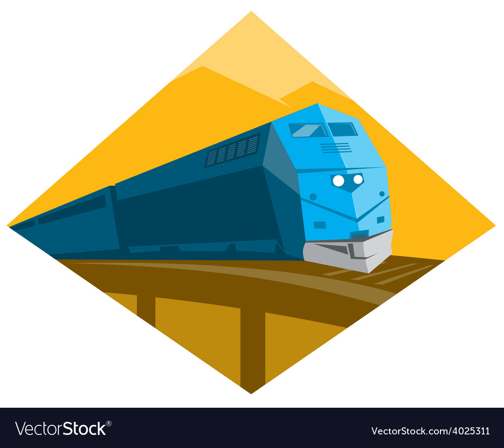 Diesel train crossing viaduct bridge vector