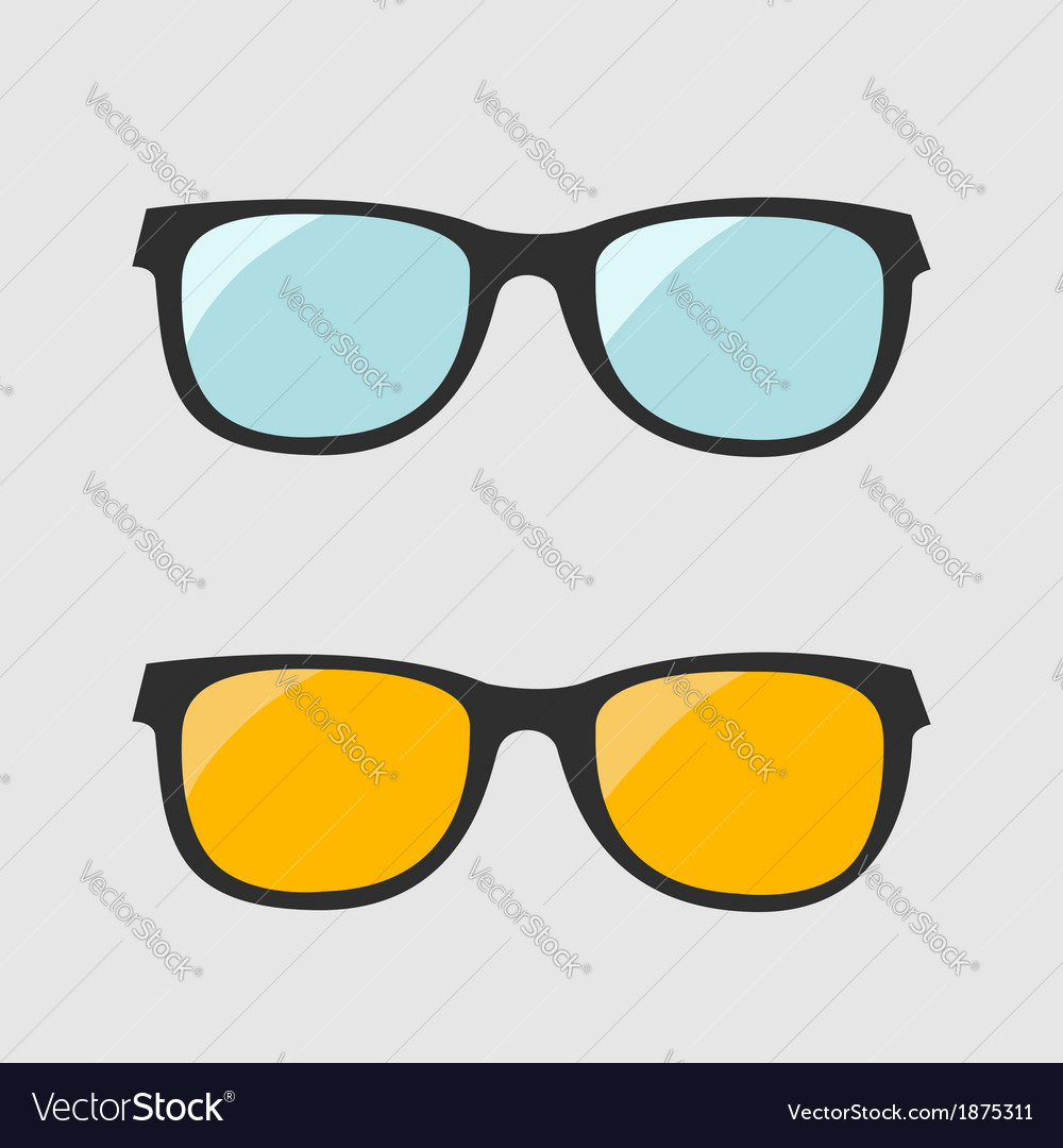 Glasses set blue and yellow lenses isolated icons vector | Price: 1 Credit (USD $1)