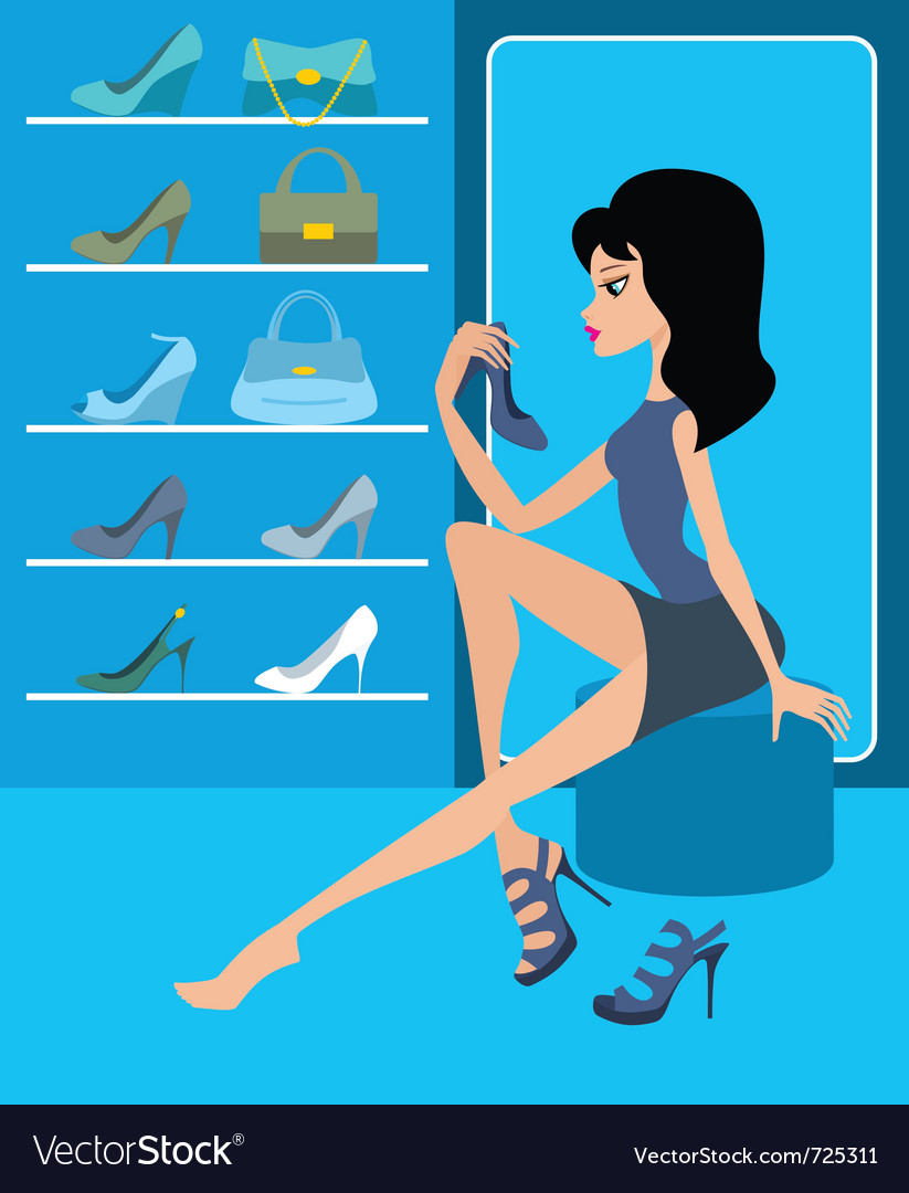 Shop of female footwear vector | Price: 1 Credit (USD $1)