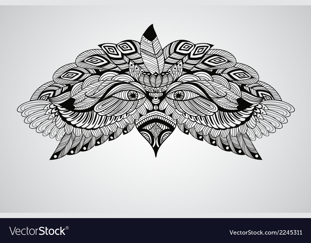 Tattoo black hand drawn highly detailed eagle vector | Price: 1 Credit (USD $1)
