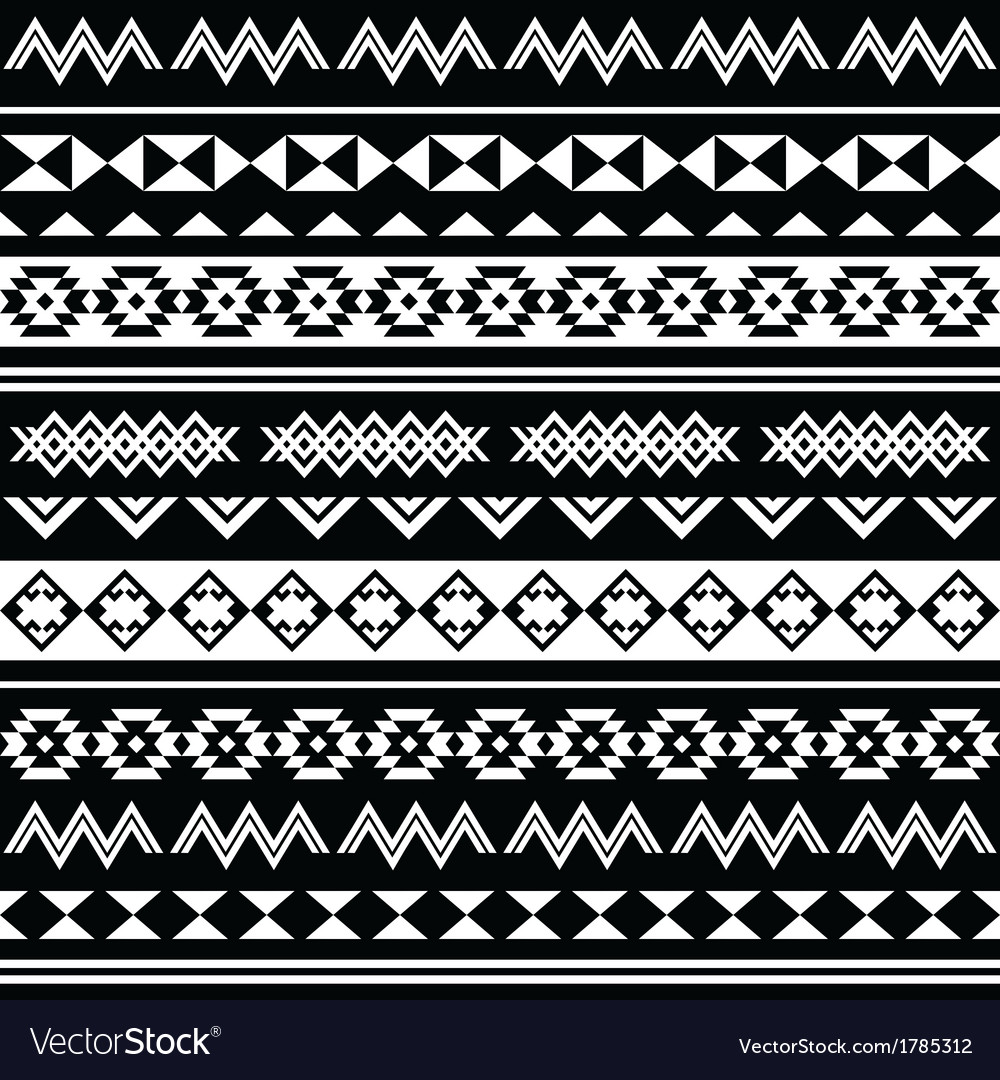 Aztec tribal seamless black and white pattern vector | Price: 1 Credit (USD $1)