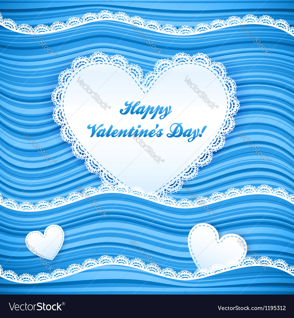 Blue wavy valentines day background vector | Price: 1 Credit (USD $1)