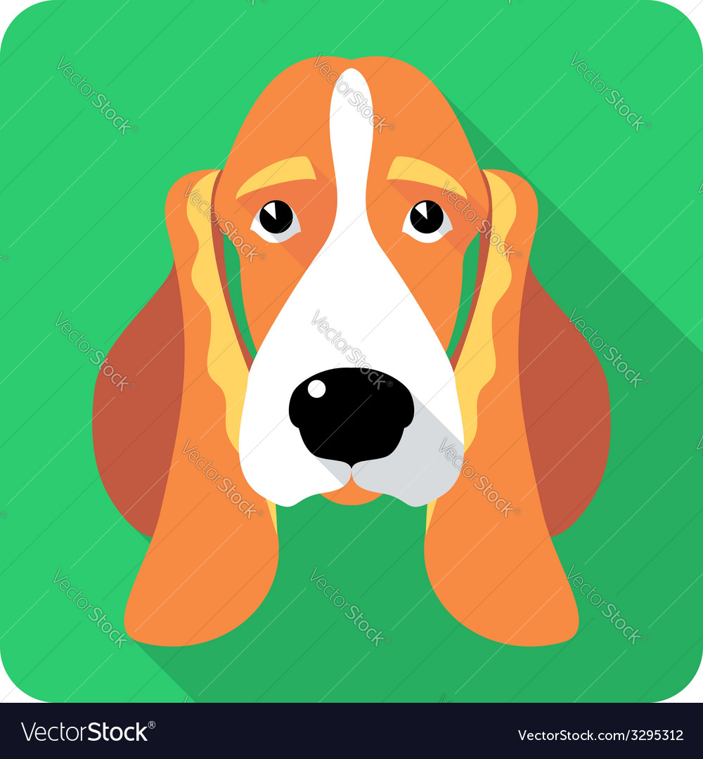 Dog basset hound icon flat design vector | Price: 1 Credit (USD $1)