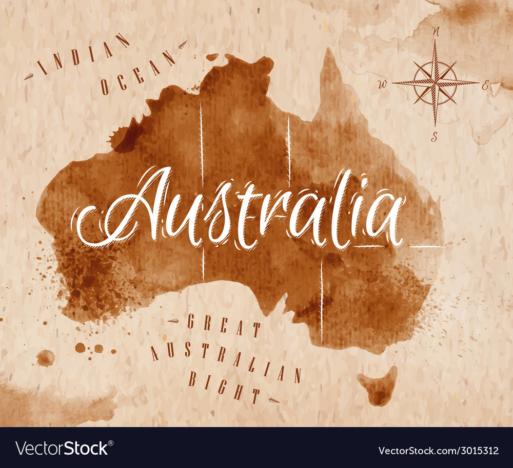 Map australia retro vector | Price: 1 Credit (USD $1)