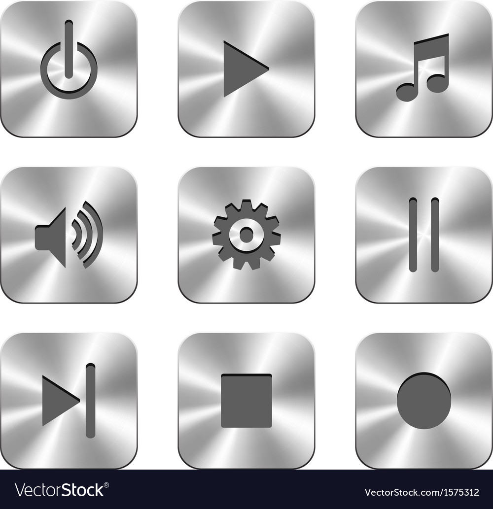 Metal buttons for media player vector | Price: 1 Credit (USD $1)