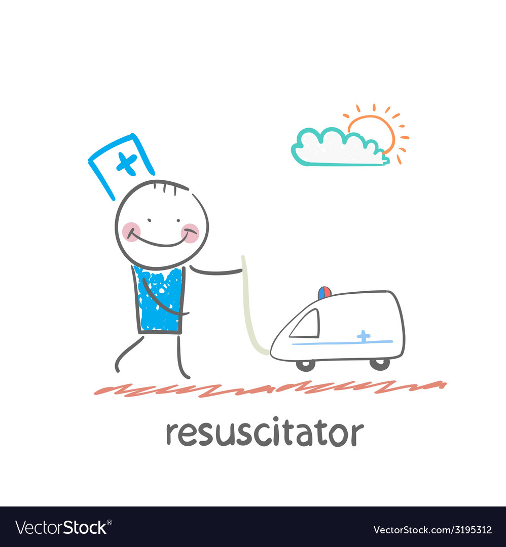 Resuscitator played with toy ambulance vector | Price: 1 Credit (USD $1)