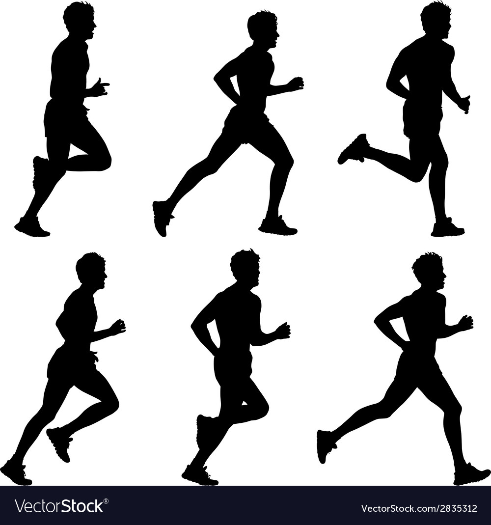 Set of silhouettes runners on sprint men vector | Price: 1 Credit (USD $1)