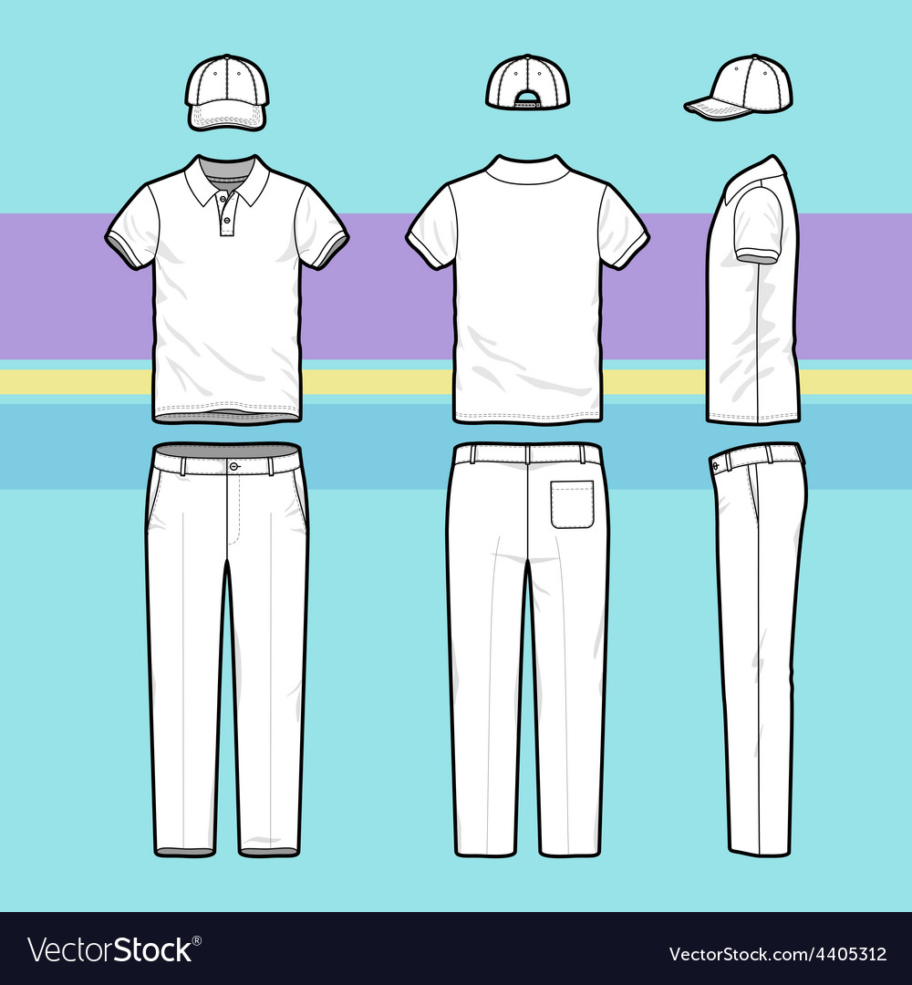 Simple outline drawing of a polo shirt pants and vector | Price: 1 Credit (USD $1)