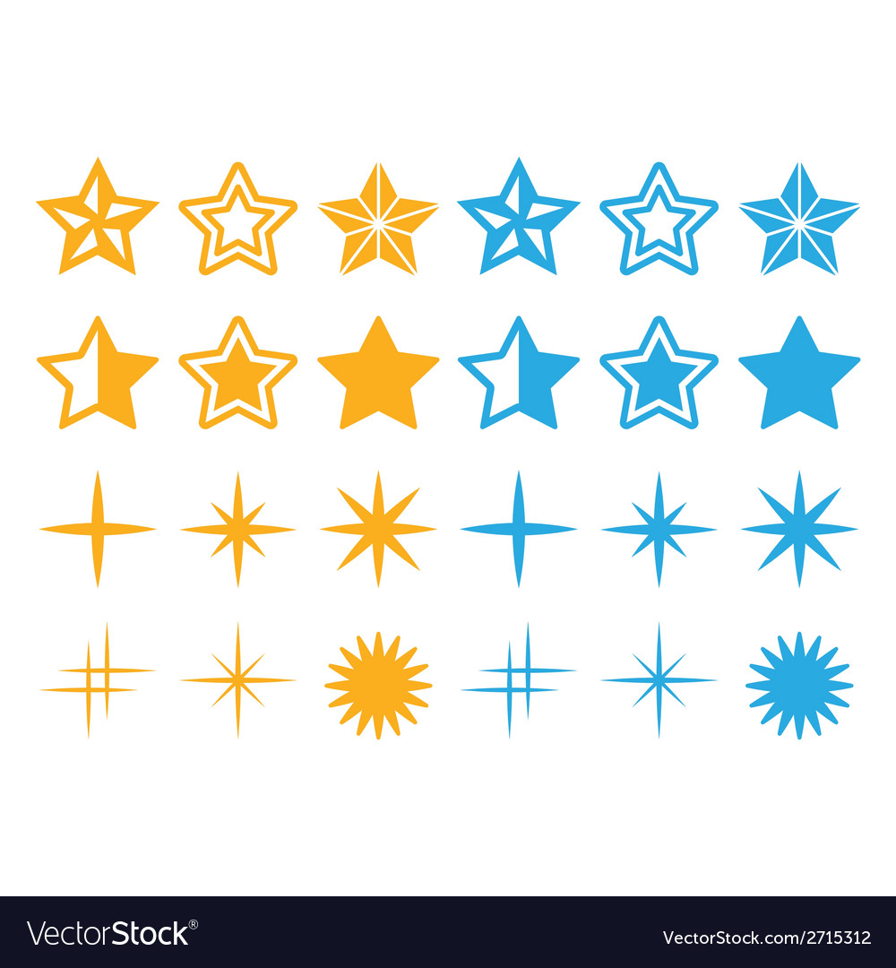 Stars yellow and blue stars icons set vector | Price: 1 Credit (USD $1)