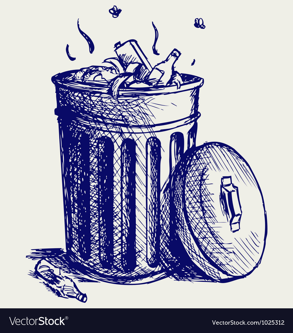 Trash bin full of garbage vector | Price: 1 Credit (USD $1)