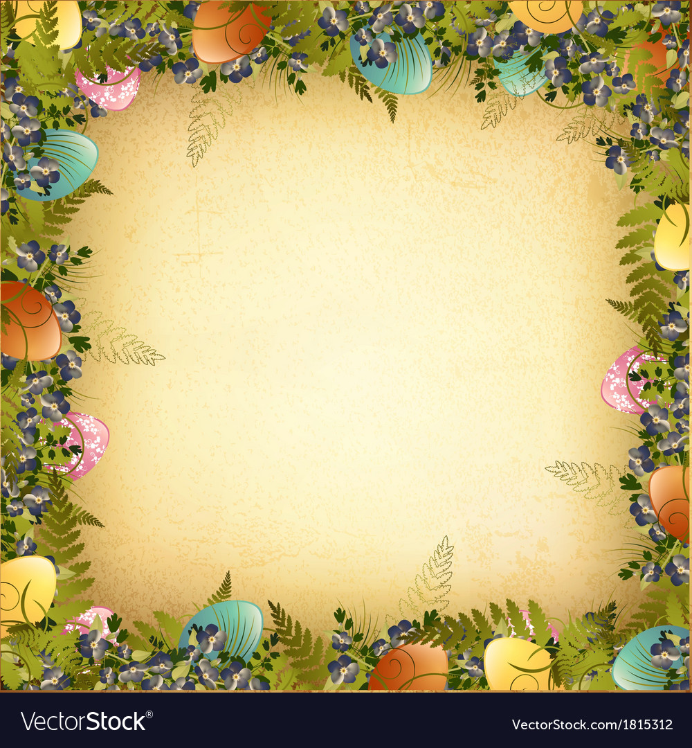 Vintage easter frame vector | Price: 1 Credit (USD $1)